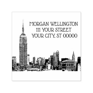 A skyline 01 de NYC gravou o carimbo de borracha