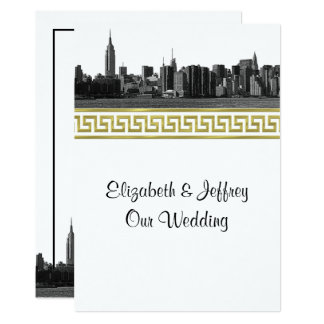 A skyline larga de NYC gravou o casamento do ouro Convite 12.7 X 17.78cm