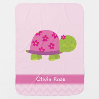 A tartaruga bonito personalizou anulado para manta de bebe