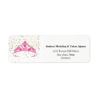 A tiara cor-de-rosa da senhorita América Stars Etiqueta Endereço De Retorno