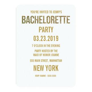 A tipografia Bachelorette do brilho do ouro branco Convite