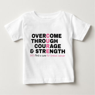 A tipografia do rosa das citações do cancer camiseta para bebê