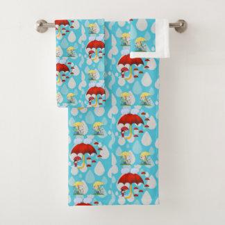 A toalha do banheiro ajusta a chuva