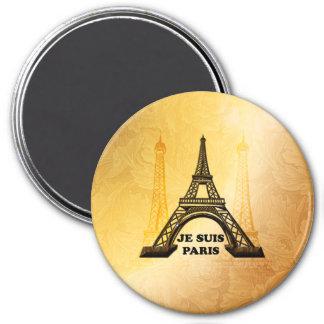 A torre Eiffel com, Je Suis Paris Ímã Redondo 7.62cm