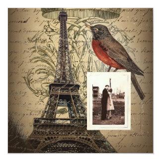 a torre Eiffel elegante scripts o aniversário do Convite Quadrado 13.35 X 13.35cm