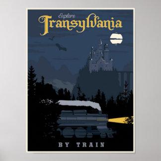 A Transilvânia pelo poster de viagens do trem