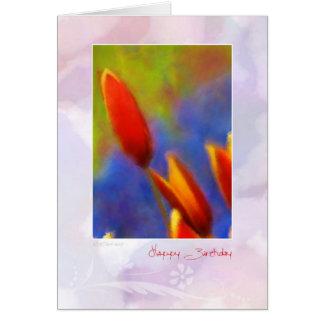 A tulipa da aguarela brota o cartão de aniversário