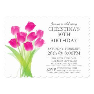 A tulipa tipográfica moderna floresce a festa de convite 12.7 x 17.78cm