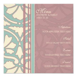 A turquesa do menu do casamento e aumentou convite quadrado 13.35 x 13.35cm