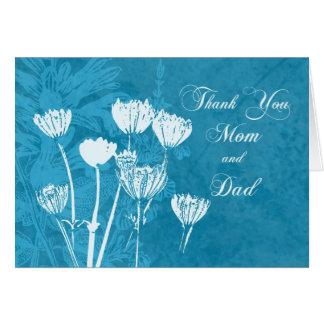 A turquesa Parents cartões de agradecimentos do