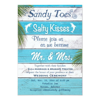 Cartão A turquesa Sandy Toes o convite de casamento