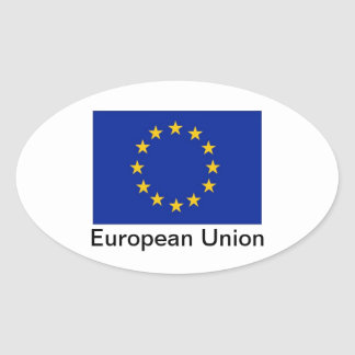 A UE embandeira etiquetas ovais Adesivo Oval