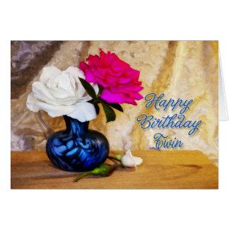 A um gêmeo, feliz aniversario com rosas pintados cartao