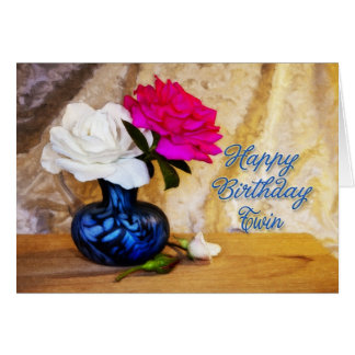 A um gêmeo, feliz aniversario com rosas pintados cartão comemorativo