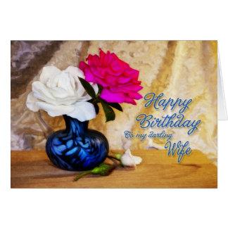 A uma esposa, feliz aniversario com rosas pintados cartao