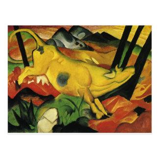 A vaca amarela por Franz Marc Cartão Postal