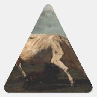 A vaca perseguiu por um cão por Troyon constante Adesivo Triangular