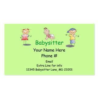 A vara dos desenhos animados do baby-sitter da cartão de visita