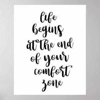 A vida começa na extremidade de seu poster da zona