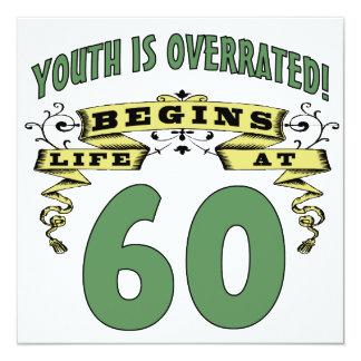 A vida começa no 60th aniversário convite quadrado 13.35 x 13.35cm