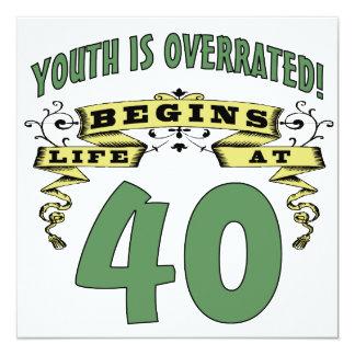 A vida começa no aniversário de 40 anos convites