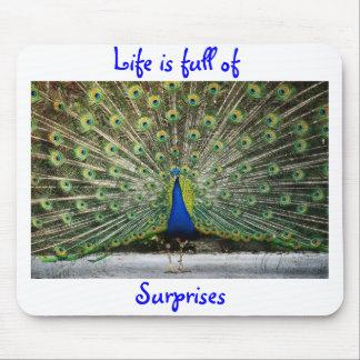 a vida é cheio do tapete do rato do pavão das surp mouse pads