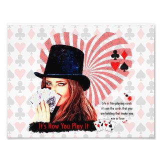 A vida é como cartões de jogo impressão de foto