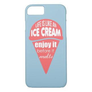 A vida é como umas citações do slogan do sorvete capa iPhone 7