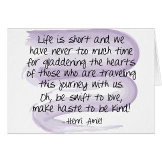 A vida é curta - cartão de nota