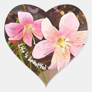 A VIDA É etiquetas cor-de-rosa BONITAS do coração
