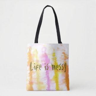 A vida é listras abstratas desarrumado da pintura bolsa tote