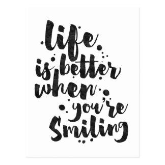 A vida é melhor ao sorrir - cartão inspirado