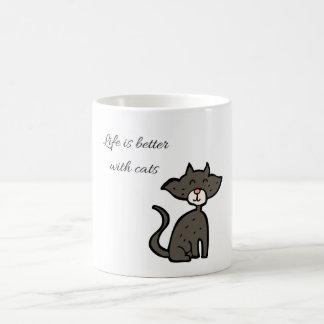 A vida é melhor com a caneca de café dos gatos