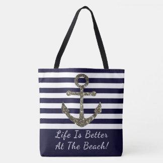 A vida é melhor na bolsa de praia náutica da praia
