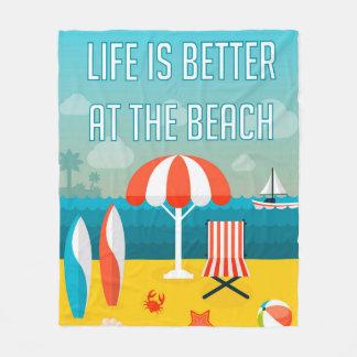 A vida é melhor na praia cobertor de velo