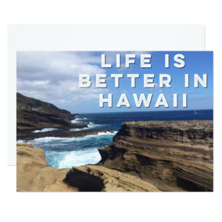 A vida é melhor no cartão do convite de Havaí