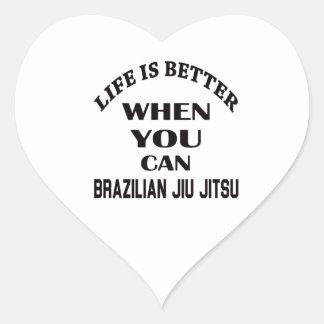 A vida é melhor quando você pode brasileiro Jiu Adesivo Coração