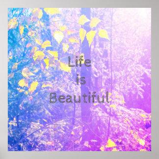 A vida é poster bonito, bonito com floresta azul