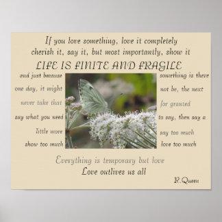 A vida é poster finito e frágil