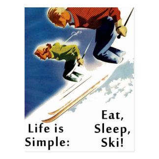 A vida é simples come o cartão do esqui do sono