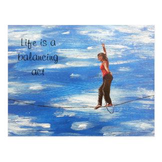 A vida é um cartão do exercicio de equilibrio