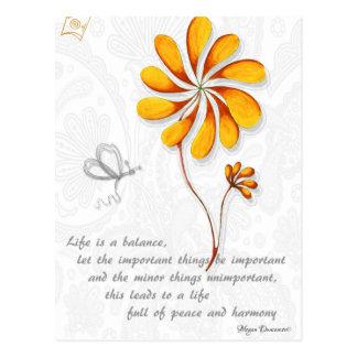 A vida é um cartão inspirado do equilíbrio