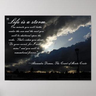 A vida é um poster das citações da tempestade