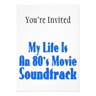 A vida é uma banda sonora do filme do anos 80 convites personalizado