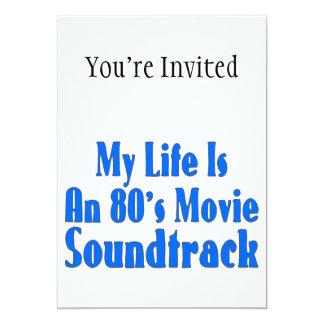 A vida é uma banda sonora do filme do anos 80 convite 12.7 x 17.78cm