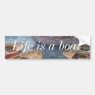 A vida é uma pintura a óleo do barco dos peixes adesivo para carro