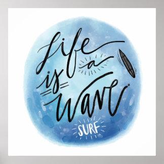A vida é uma tipografia da aguarela do conselho de pôster