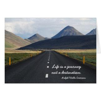 A vida é uma viagem não um cartão do destino