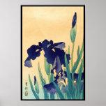 A violeta japonesa do ukiyo-e do vintage clássico  poster