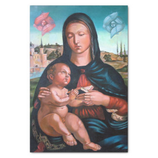 A Virgem Maria abençoada com Jesus e anjos Papel De Seda